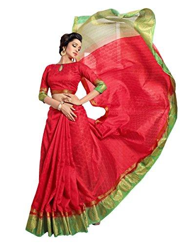 Pehnavaa Women's Banarasi Red and Green jacquard silk sarees