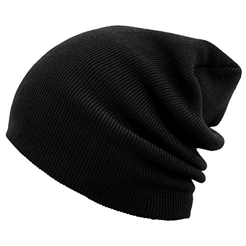 MSTRDS Beanie Basic Flap Long Version Schwarz