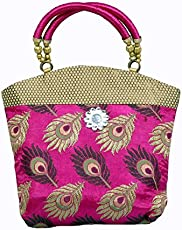 Kuber Industries Women's Cotton Mini Handbag, Pink