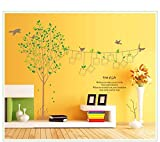 zooarts Memorial Baum Foto Wand Bird Abnehmbare Vinyl Wandaufkleber Aufkleber Wandbild