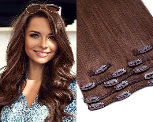 Clip In Extensions Echthaar Haarverlängerung GlamXtensions 7 - teilig in der Farbe Nr. 08 Goldbraun und Länge 35cm / Gewicht 85g - Remy Echthaar
