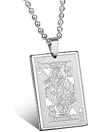 mendino Hombre Rey de corazones tarjeta de poker Punk Rock Cadena Collar con Colgante de acero inoxidable con 22inch plata