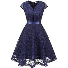208b17f0df MuaDress Fashion Vestido Corto De Fiesta Elegante Mujer De Encaje Escote en  V Estampado Flor Vestido