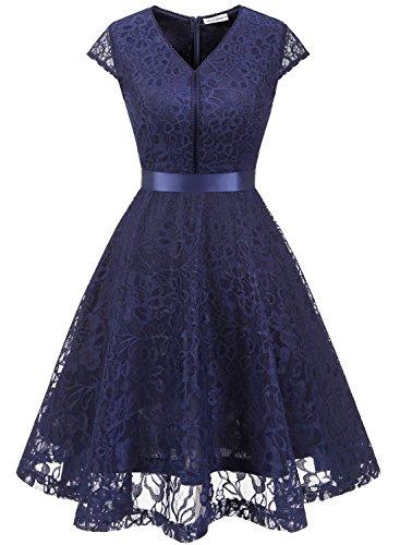 MuaDress 6004 Brautjungfernkleid aus Spitzen Kurz Damen Kleid Cocktail Cape Marineblau M
