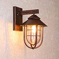 XAJGW Luz Exterior de Pared Metal óxido Vintage Linterna Exterior IP44 1 Bombilla [Clase de energía A]