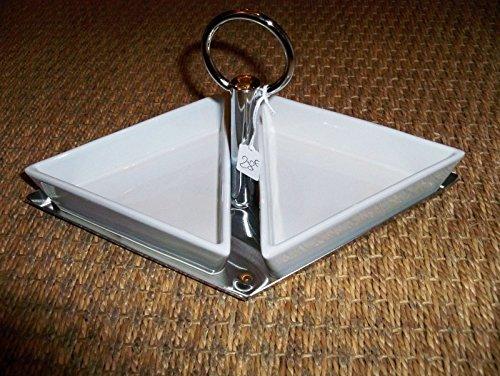 Boite-a-cadeaux - Plat Apéritif 2 Coupelles Porcelaine Blanches sur Plat Métal Aulica