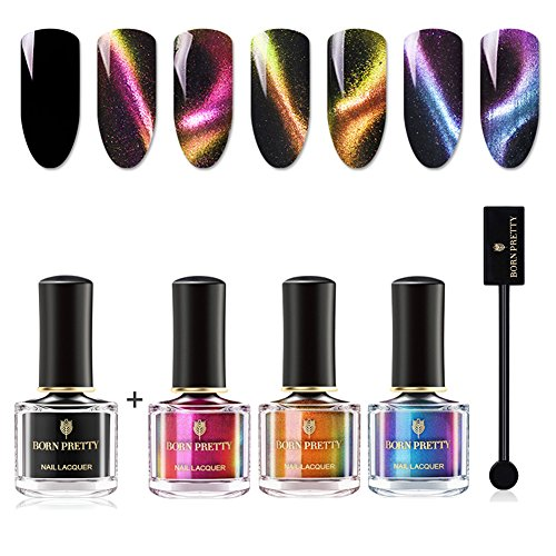 BORN PRETTY 6ml 3D Cat Eyes Chameleon Nail Polish 3 Colors Set, Black Base Polish with Magnet Sticks