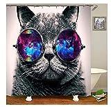 Bishilin Polyester-Stoff Badezimmer Duschvorhang 165x180 Katze mit Brille 3D Duschvorhang Antischimmel