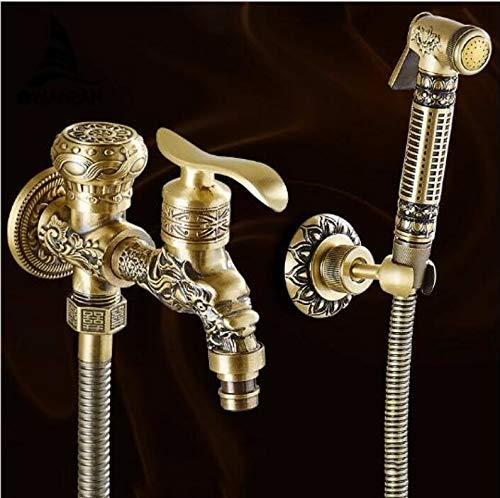 Antike Messing Doppel-arm (Antike Messing Bidet Wasserhahn Wandmontage Badezimmer Dusche WC Waschmaschine Wasserhahn kaltes Wasser mit Handbrause Halterung)