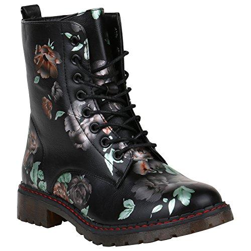 Damen Stiefeletten Worker Boots Blumen Print Outdoor Schuhe 151879 Schwarz Orange Avion 37 Flandell