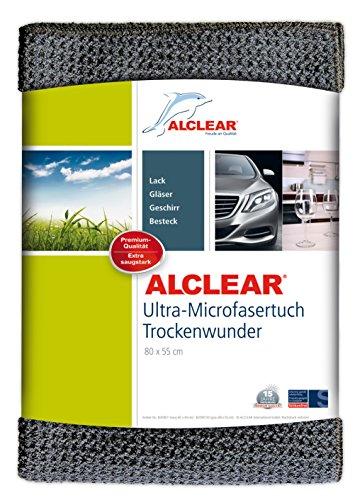 Alclear 820901m panno in micro fibra super asciutto per un'auto perfetta, vernice, moto, cucina e casa – panno per stoviglie in microfibra - panno morbido per asciugare - 80x55 cm grigio
