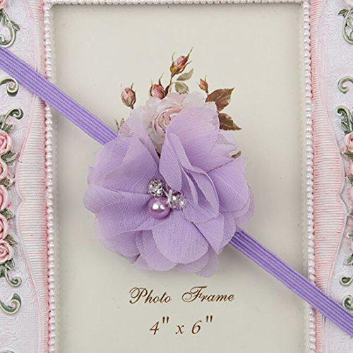 Baby Toddler Infant Chiffon Pearl Flower Hair Band Cute Soft Crystal Fabric Headbands
