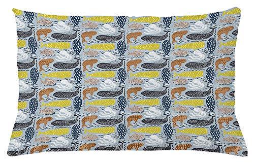 shion Cover, Whale Dolphin Big Fish Mammal Silhouettes Ocean Subaquatic Life Kids Nursery Theme, Decorative Square Accent Pillow Case, 18 X 18 Inches, Multicolor ()