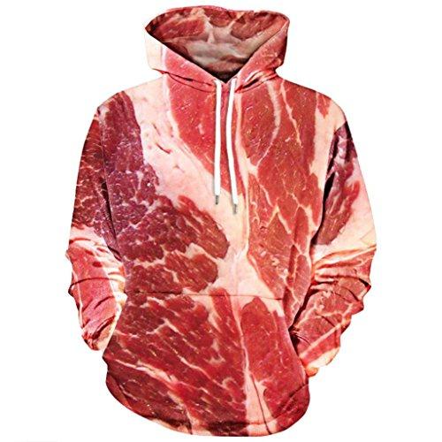Fasching Kostüm, FNKDOR Rohes Fleisch Gedruckt Pullover Langarm mit Kapuze Sweatshirt Tops (Rot, EU:52 / CN:XXXL)