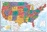 USA United States Map Wall Chart Poster Gloss Laminated - 91.5 x 61cms (36 x 24 Inches)