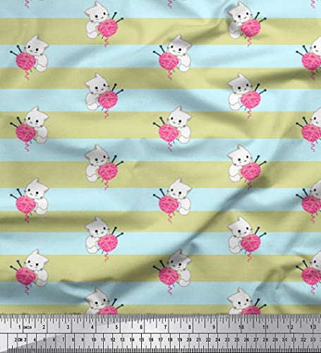 Soimoi Beige Poly Krepp Stoff Kätzchen & Wolle Streifen Stoff drucken Meter 52 Zoll breit