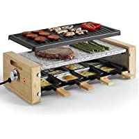 VonShef Raclette Grill with 8 Mini Pans, Non-Stick Plates and Adjustable Temperature Control - Stone and Traditional Plates - 8 Person - 1200W