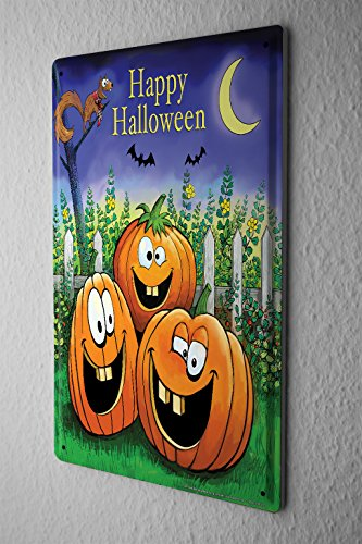 Cartello targa in metallo fun cucina decorazione zucche di halloween happy sorridente scoiattoli mezzaluna pipistrelli piastra insegna metallica 20x30 cm