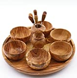 Küchenutensilien aus Olivenholz 36037 - TRAY WITH 6 BOWLS AND COCTAIL STICKS