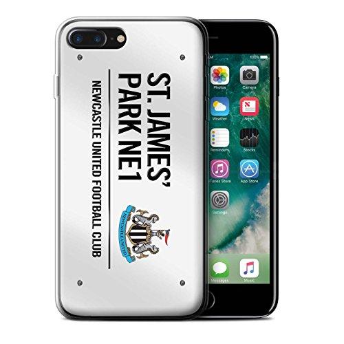 Offiziell Newcastle United FC Hülle / Gel TPU Case für Apple iPhone 7 Plus / Weiß/Blau Muster / St James Park Zeichen Kollektion Weiß/Schwarz