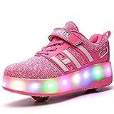 Unisex Schuhe mit Rollen Kinder Skateboard Schuhe Rollschuh Schuhe LED Light Wheels Sneakers Outdoor-Trainer für Junge Mädchen (38 EU, Zwei Räder/Rosa)
