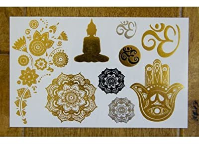 Metallic Gold & Silver Yoga Tattoo Set by myTaT
