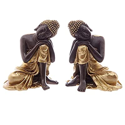 Pair of Gold & Brown Thai Buddhas Resting Head on Knee 12cm