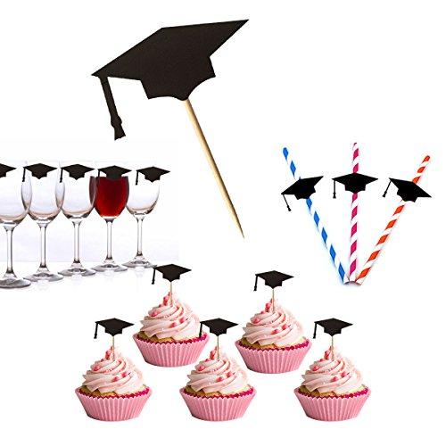 48 Stück Abschluss Kuchen Topper, Vindar Schwarz Cupcake Topper Grad-Kappe mit Zahnstochern und Klebstoffen für Abschlussfeier 2018, Kuchen Dekorationen Werkzeuge