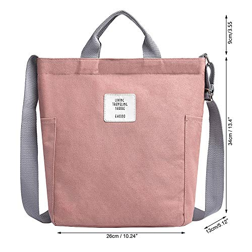 Einfache Damentasche Canvas Tote Handtasche, vielseitige Schulter Hobo Work Bag Crossbody Tasche Geldbörse für Frauen, grau Geeignet für große Kapazität (Color : Pink, Size : M) -