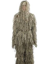 Zicac - Traje de camuflaje militar para adultos, para airsoft y caza, diseño de filamentos rotos, uso exterior, talla única, hombre mujer, verde claro