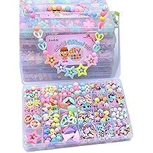 0852ccedce99 ... juegos de hacer pulseras collares y anillos. Colorido de acrílico  Bricolaje de los niños con Cuentas de Bolas de Cuentas de Bricolaje Conjunto
