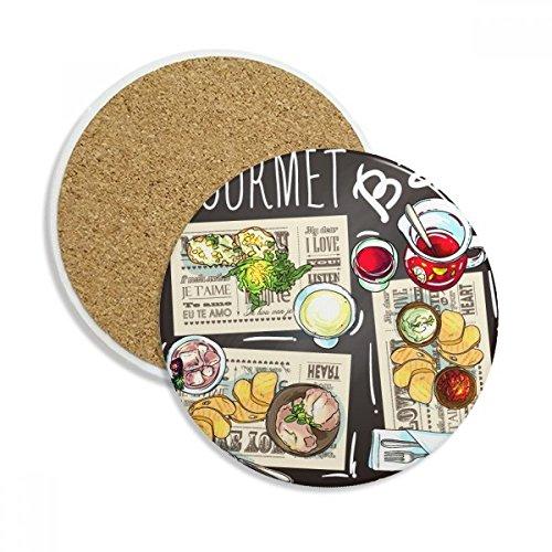Gourmet Bar Steak Suppe Limonade Keramik Untersetzer Tasse Halter saugfähig Stein für Getränke 2Geschenk