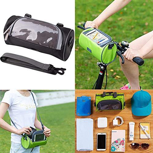 NTMY Fahrrad Lenkertasche Fahrradrahmen Wasserdichte Tasche Telefon Mount Touchscreen Taschen Transparent PVC-Beutel und Entfernbar Schulterriemen