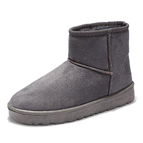 lww Donna scarponi da neve a fondo piatto a testa tonda Plush solido elastico di colore Grey