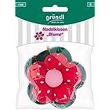 Gründl Coussin à épingles, fleur, coton, Polyester, rouge, vert, rose, 14x 10x 3cm