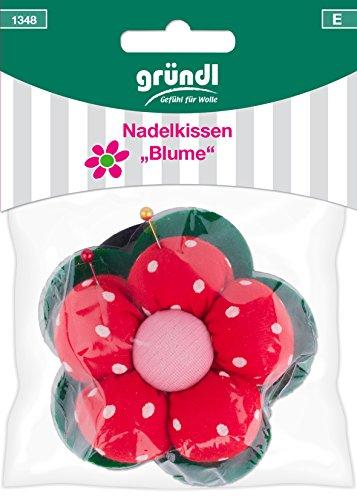Gründl Blume Nadelkissen, Baumwolle, Polyester, Rot Grün Pink, 14 x 10 x 3 cm