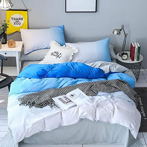 WNJ-bedding Bettdecken-Sets 2019, Blau Allmähliche Änderung Weiße Bettwäsche-Sets King Size Bettbezug Mit Bettlaken Kissenbezug 3 Stücke Bettwäsche Set (Size : UK King 4pcs) - Set-blau-gold König Tröster