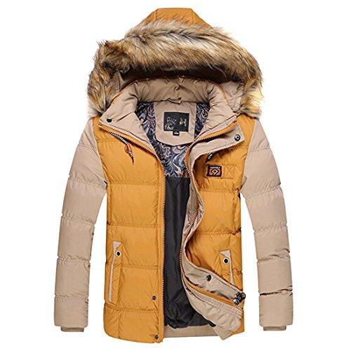 QIYUN.Z Männer Winter Warme Jacke Abnehmbare Kappe Mit Kapuze Dicken Daunen Baumwolle Gefütterte Kurzmantel Gelb