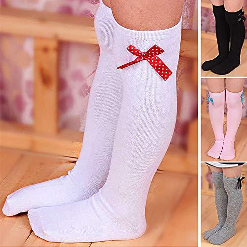 XdiseD9Xsmao Weiche Langlebige Einfarbige Gestreifte Schleifenstrümpfe rutschfest Schweißabsorbierend Elastisch über Dem Knie Lange Socken Für Kinder Mädchen Roter weißer Streifen