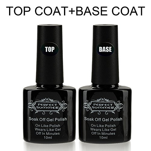 Base Coat Top Coat Vernis Gel - Perfect Summer Soak Off UV LED Vernis à Ongles Gel Semi Permanent Nail Art Manucure Couleur Transparente 2pcs x 10ml