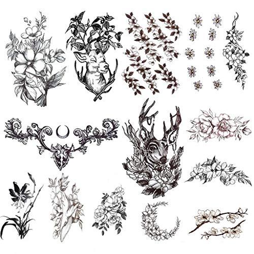 QAWSED Autoadesivi del Tatuaggio del Fiore Animale del Fumetto Autoadesivo Sexy Nero della Clavicola del Grande Modello Femminile Impermeabile Nero del Torace Adesivo per Body Art