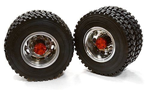 Integy-Hobby-RC-Model-C26577RED-Machined-Alloy-T5-Rear-Dually-Wheel-XD-Tire-for-Tamiya-114-Scale-Trucks