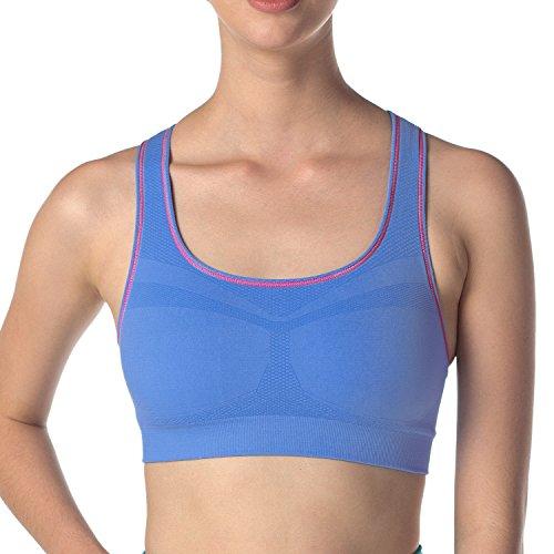 Lapasa Damen Yoga Sport-BH, Nahtlos, Racerback, Push Up ohne Bügel, in 13 Farben, Sport Bustier, Für Yoga und Fitness-Training, Bequem und Luftig (M, Blau) (Nylon-bügel-sport-bh)