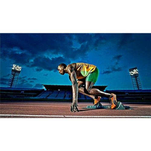 Usain Bolt (43inch x 24inch / 107cm x 60cm) Silk Print Poster - Seide Plakat - E08D22 (Bolt Seide)