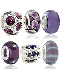 Hidden Gems Plaqué argent à double Perles de verre de base Ensemble de 6
