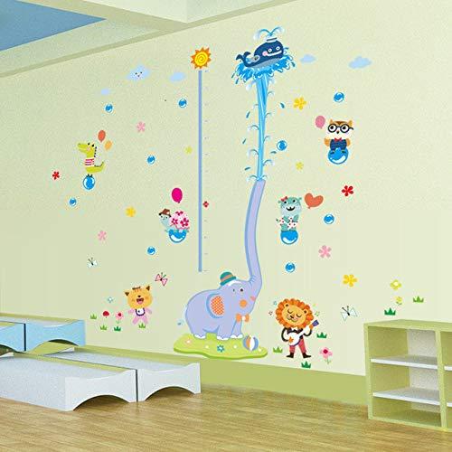ELGDX Sticker Mural Grand Animal Cartoon Grandir Taille Règle Pépinière Enfants Chambre Enfants Tuile Amovible Porte Decal Décor Peintures Murales