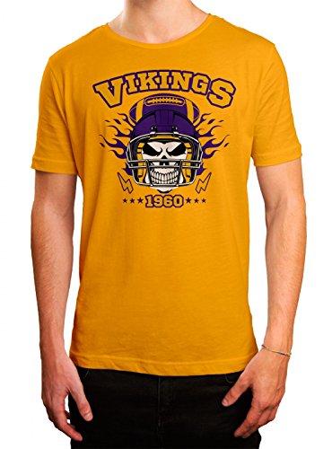 Vikings Skull Premium T-Shirt American Football Totenkopf Football-Helm Herren Shirt, Farbe:Gelb (Gold L190);Größe:M - Wisconsin Gelben T-shirt