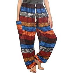 Lofbaz Mujer Rayas Cordón Harén Boho Pantalones Earth Sea S