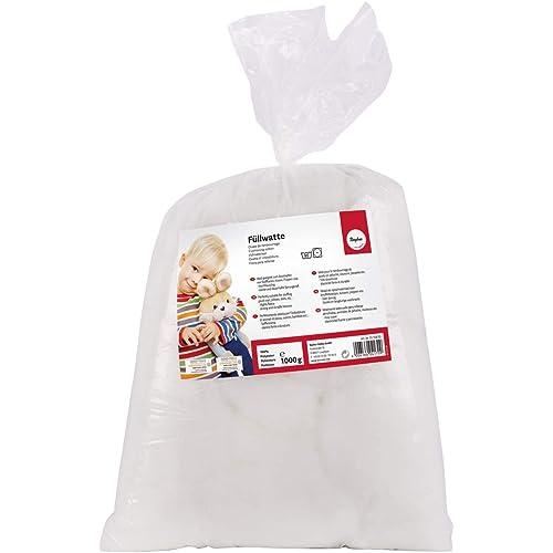Rayher 3315800 ovatta per imbottitura bambole cuscini morbida 100% poliestere resistente alle temperature lavabile, 1 kg