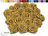 10 Stk. Satinrosen 3cm (gold 687)//Rosen 30mm Stoffrosen Satin Satinröschen Rosenköpfen deko Basteln Tischdeko Dekoration Streudeko Hochzeit Taufe Kommunion Blumen Applikationen